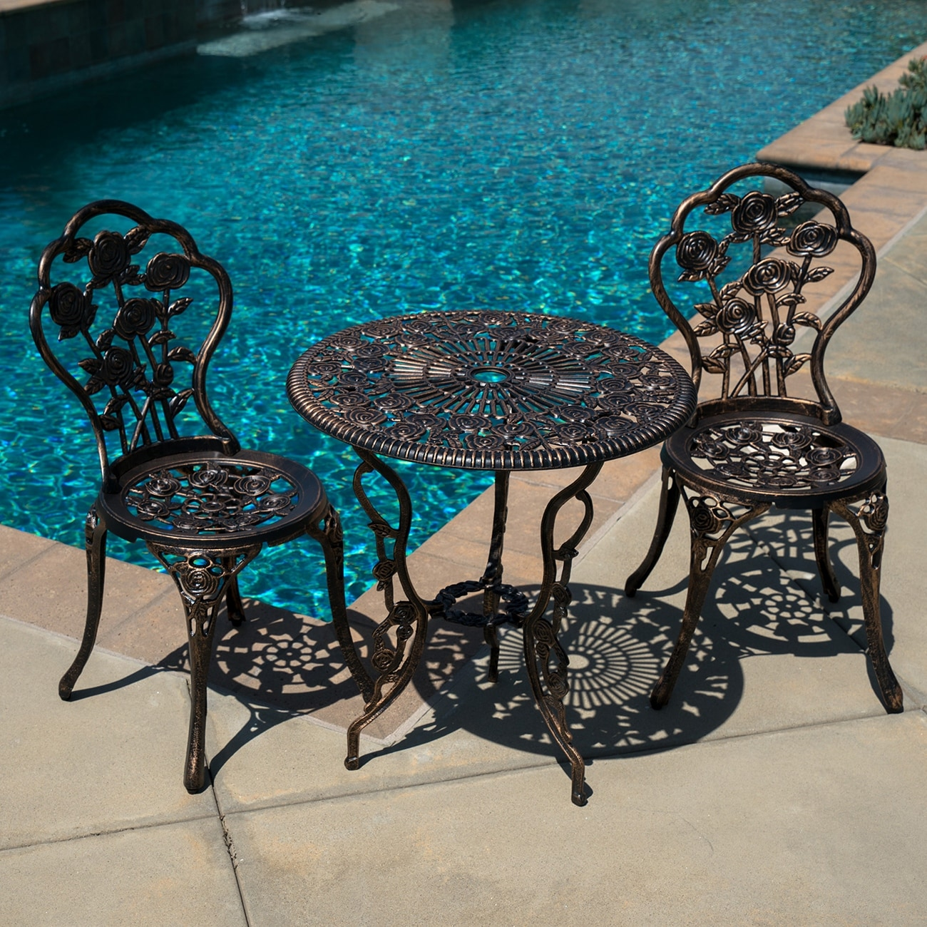 Shop 3 Piece Bistro Outdoor Patio Set Rose Design Weather Resistant Bronze  Casted   Free Shipping Today   Overstock.com   15874314