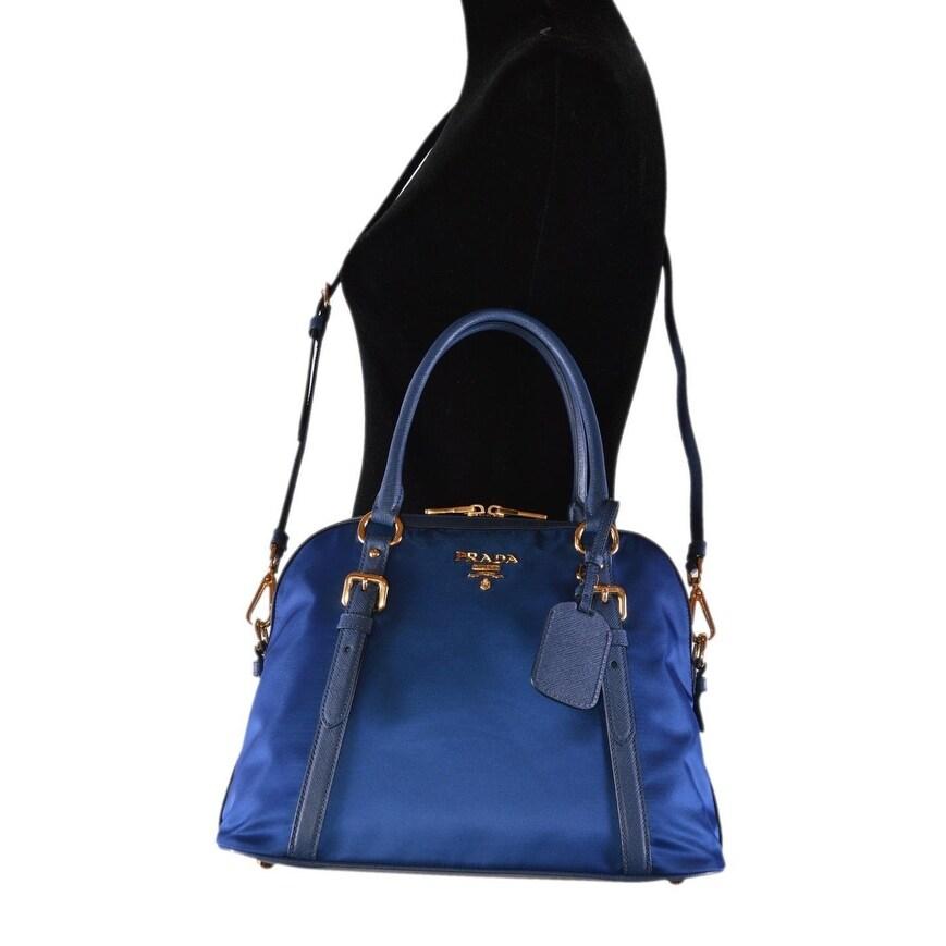 5cba7d61b Shop Prada 1BB013 Tessuto Nylon Bluette Blue Bauletto Satchel Purse W/Strap  - Free Shipping Today - Overstock - 26443796