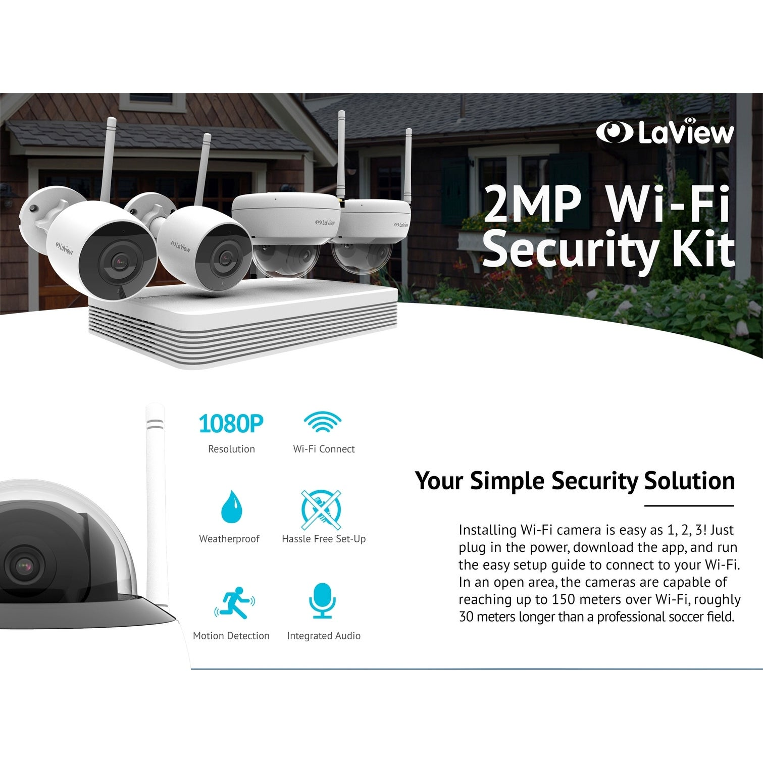 shop laview 8 channel 1080p wi fi auto pairing nvr security system with 2 1080p bullet and 2 1080p dome wi fi ip cameras 1tb hdd free shipping today - Nvr Security System