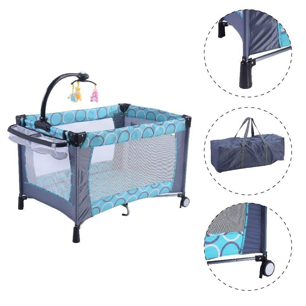 Costway Costway Baby Foldable Crib Bassinet Pack \'n Play Playard ...