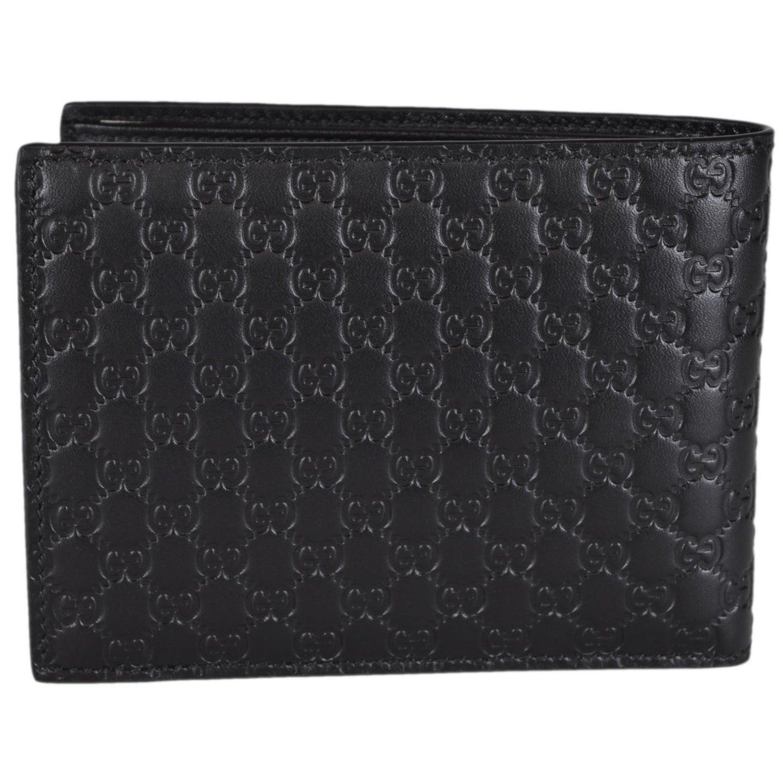 5ed7a390534 Shop Gucci 217044 Men s Black Leather Micro GG Guccissima Trifold ...