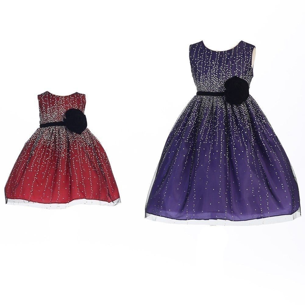 61f6c528aa2a Shop Crayon Kids Little Girls Purple Velvet Flower Sash Sequin Christmas  Dress - Ships To Canada - Overstock - 18167953