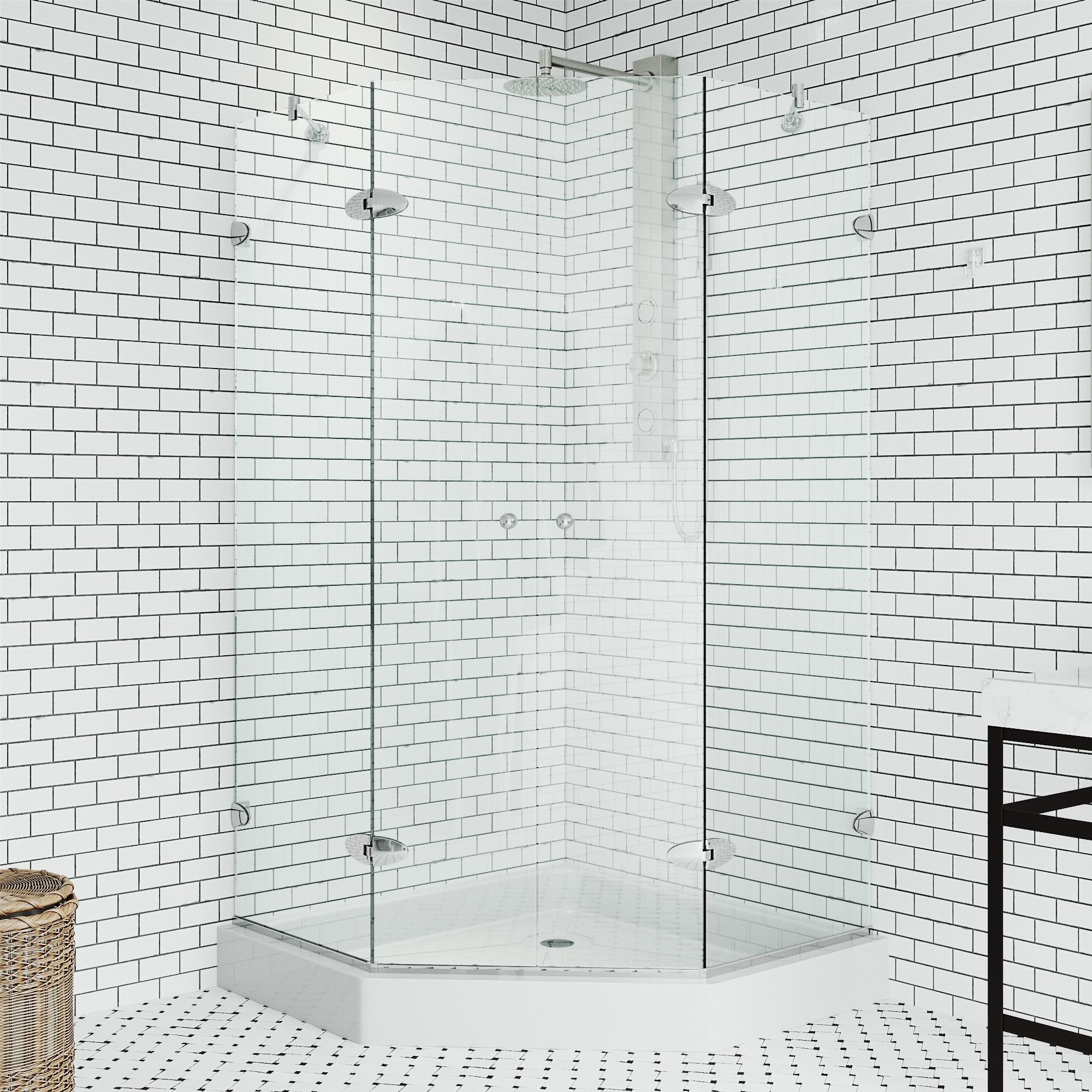 vigo gemini clear frameless neo angle shower enclosure with base