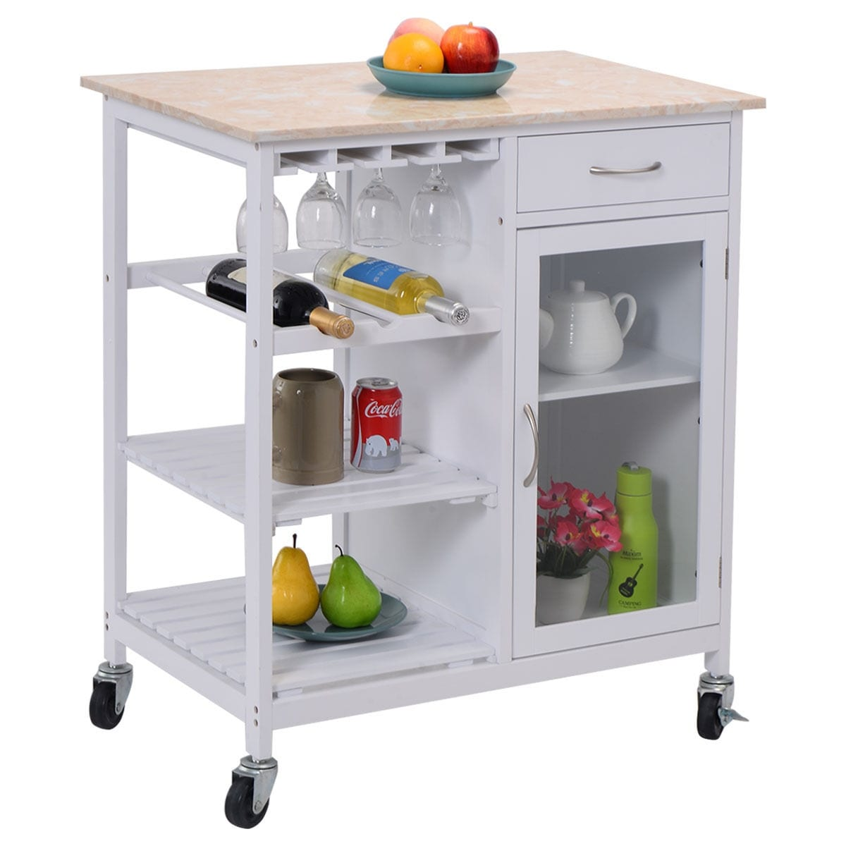 Costway Portable Kitchen Rolling Cart Faux Marble Top Island Serving ...