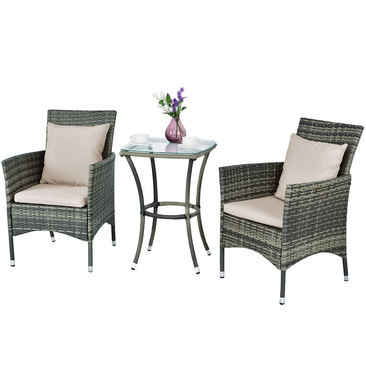 Shop Costway 3PCS Patio Rattan Furniture Set Chairs & Table Garden ...
