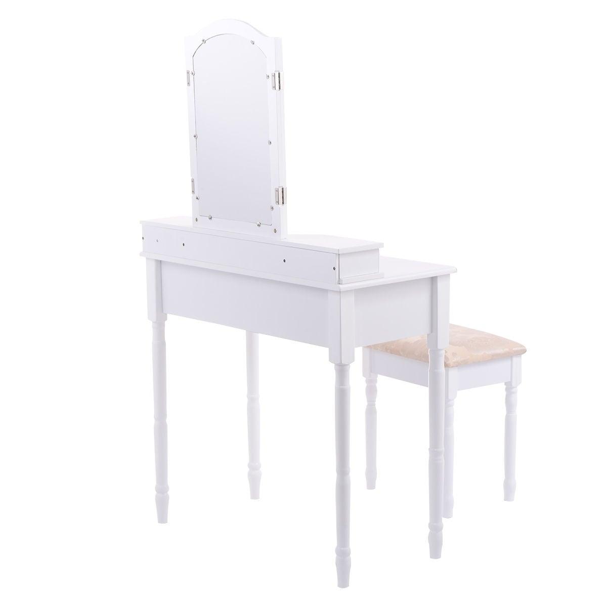 Shop Costway White Tri Folding Mirror Vanity Makeup Table Stool Set ...
