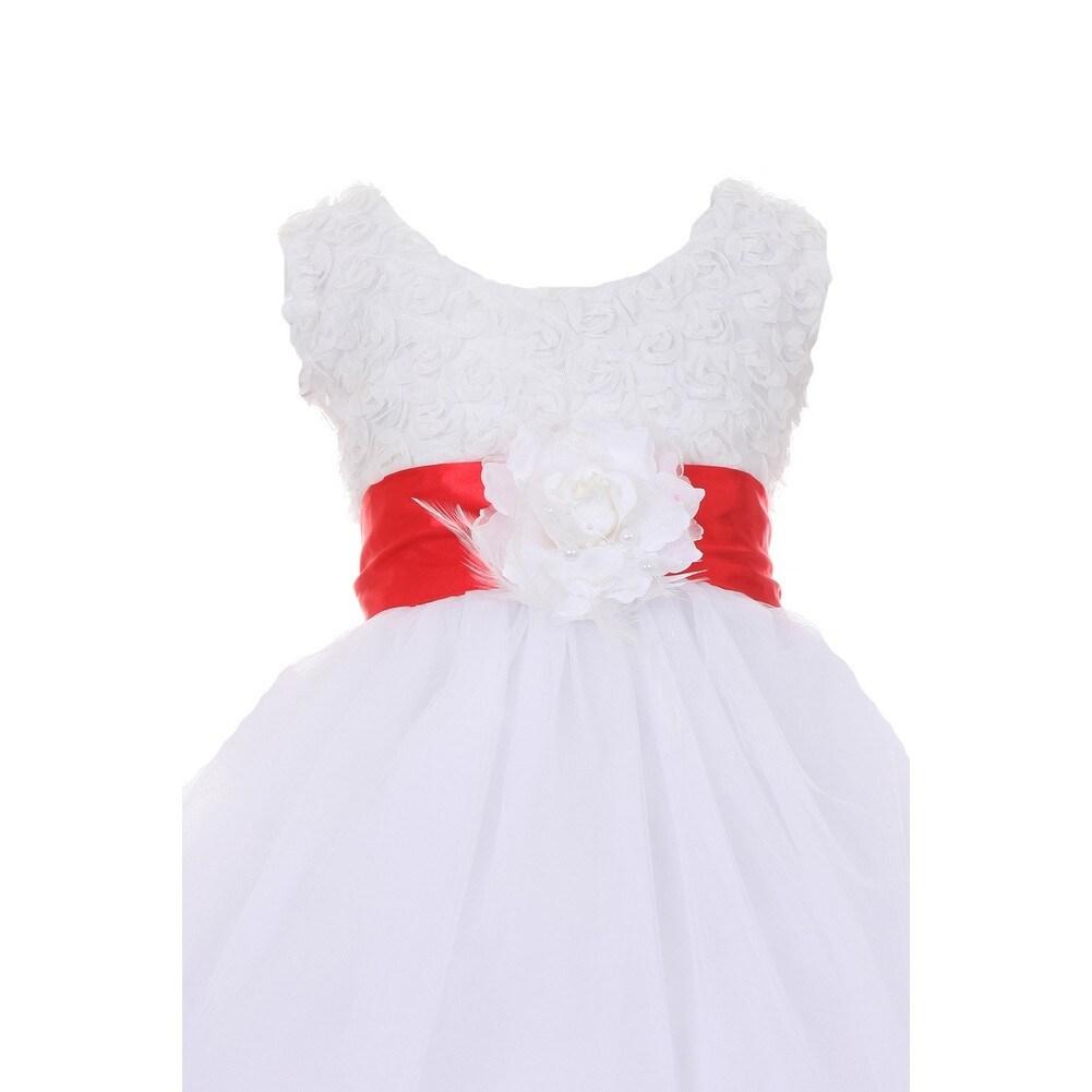 Little girls white red sash tulle rosette bodice flower girl dress 2 little girls white red sash tulle rosette bodice flower girl dress 2 6 free shipping today overstock 25311178 mightylinksfo