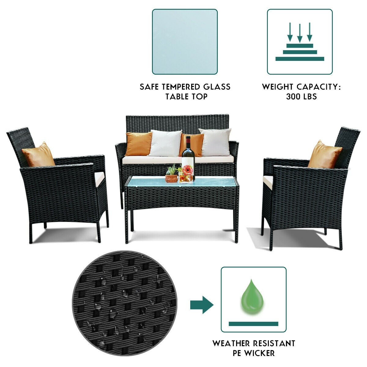 Patio Furniture For Over 300 Lbs.Costway 4 Pc Outdoor Rattan Furniture Set Loveseat Sofa Cushioned Patio Garden Steel
