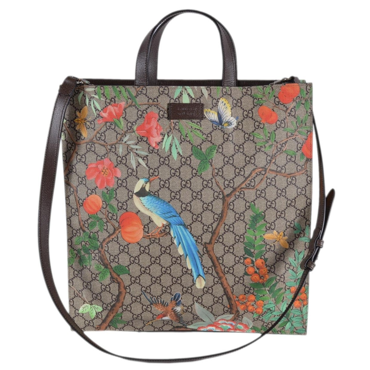 2f6323badaa7 Shop Gucci Women's 450950 GG Supreme Blooms Birds Floral Crossbody Purse  Tote - Beige/Brown - Free Shipping Today - Overstock - 27545157