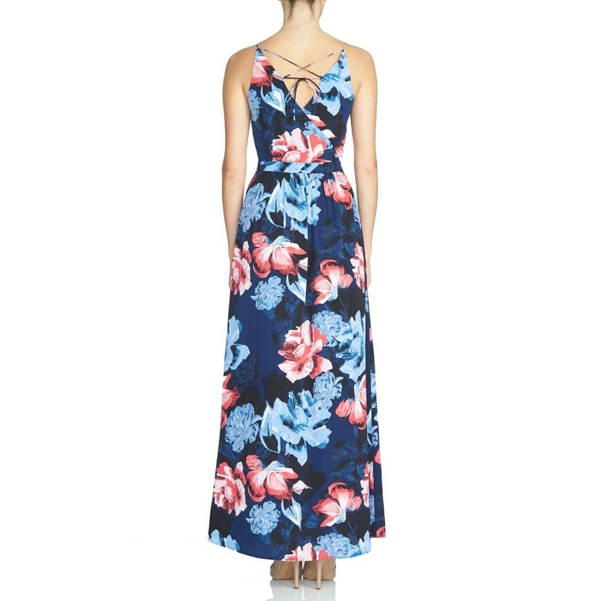 State NEW Blue Womens Size XS Floral-Print Lace-Up Back Maxi Dress - Free  Shipping On Orders Over  45 - Overstock.com - 20562478 764beee3fb