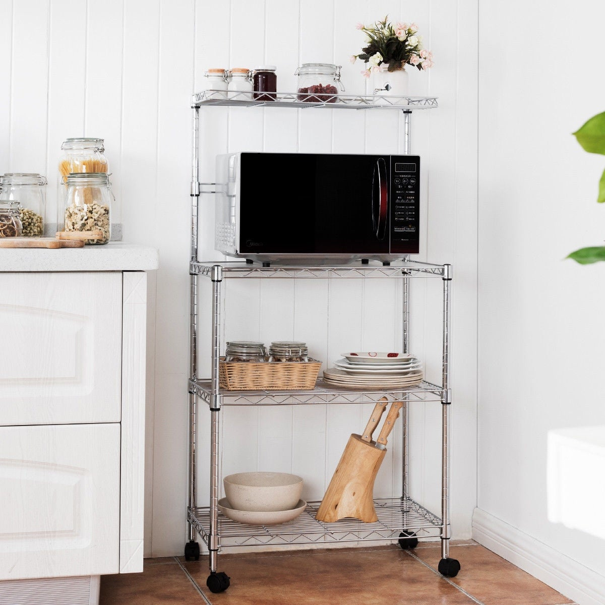 Ordinaire Shop Costway 3 Tier Kitchen Bakeru0027s Rack Microwave Oven Stand Storage Cart  Workstation Shelf   Sliver   Free Shipping Today   Overstock.com   15897993