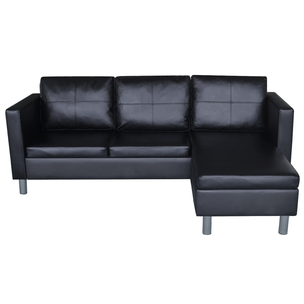Vidaxl 3 Seater L Shaped Artificial Leather Sectional Sofa Black Free Shipping Today 18505012