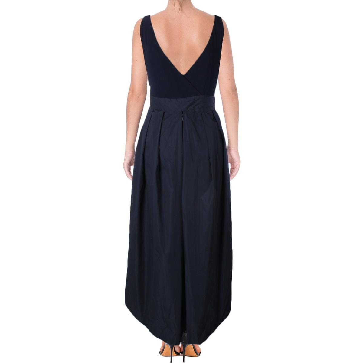 Lauren Ralph Womens Pees Evening Dress Mixed Media Open Back Free Shipping Today 19581833