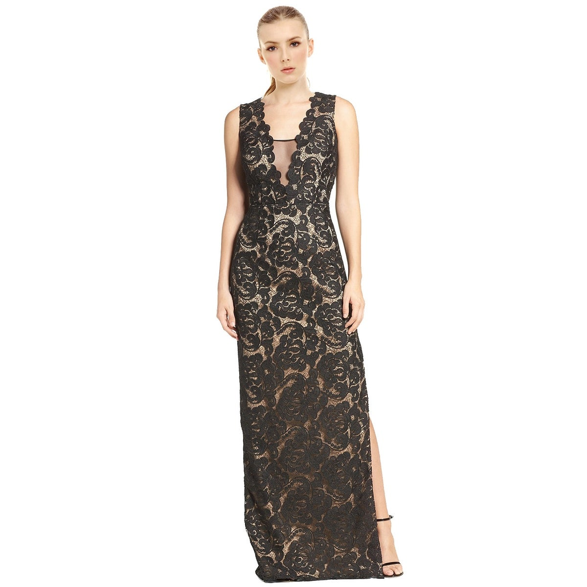 Shop Aidan Mattox Illusion Neck Sleeveless Lace Column Evening Gown ...