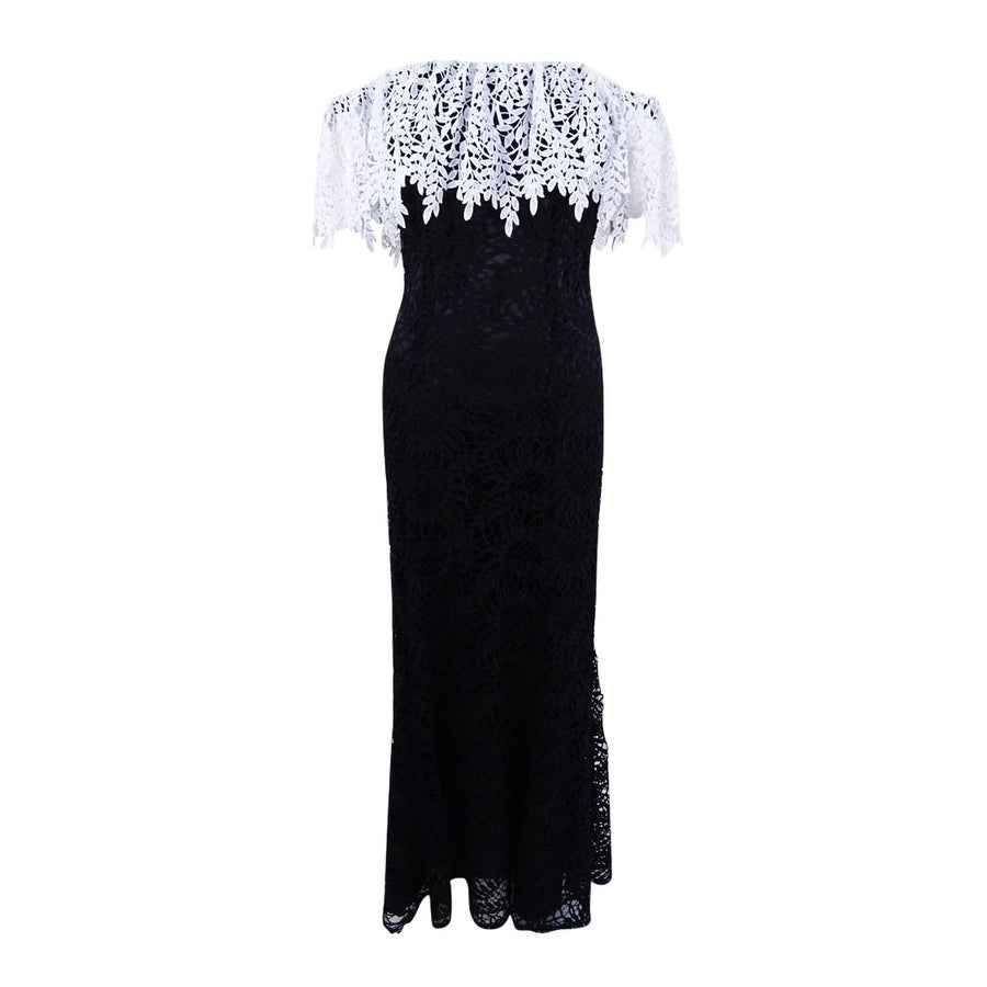 28dc8d3fa0 Shop Tahari ASL Women s Lace Off-The-Shoulder Gown - Black White - Free  Shipping Today - Overstock - 22082177