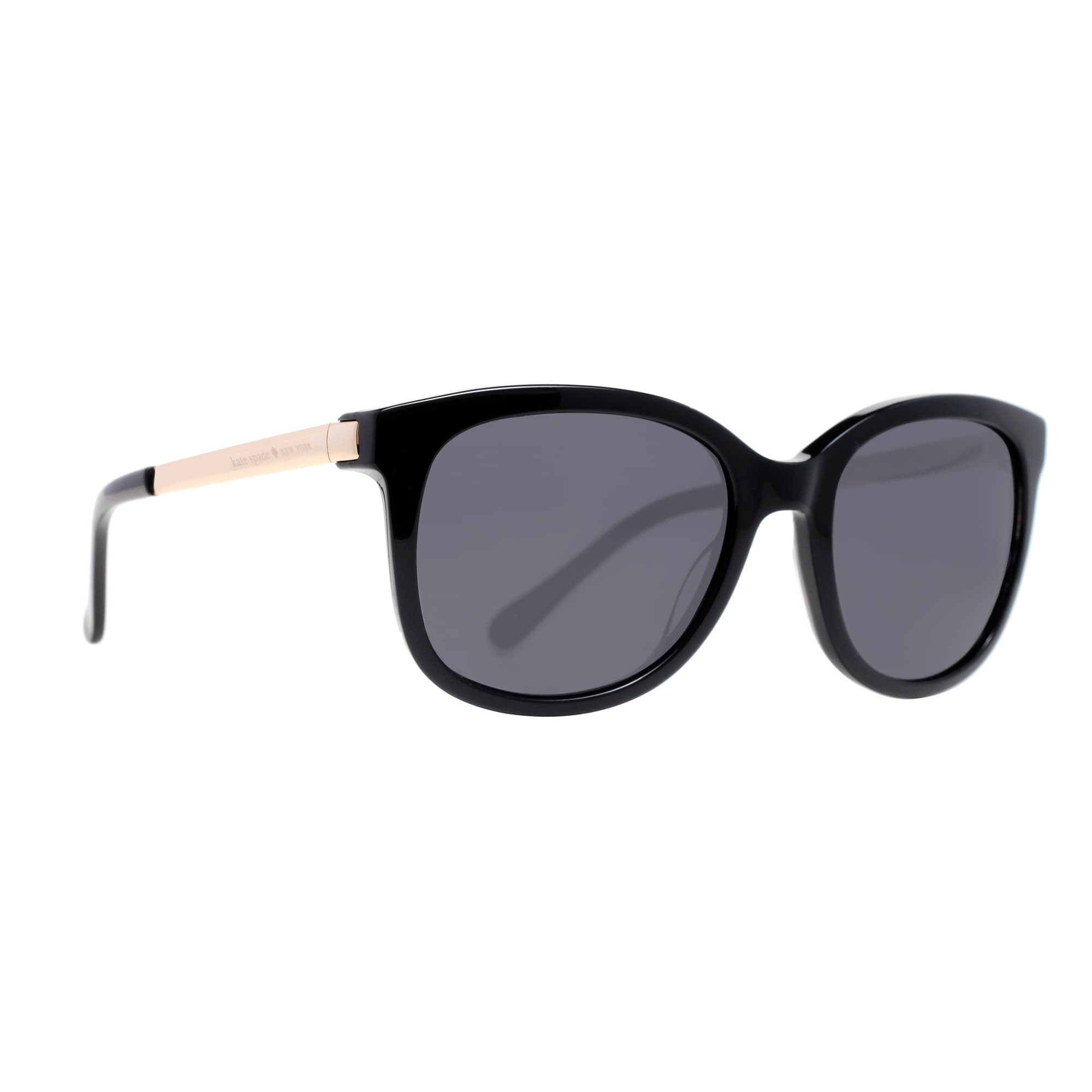 4a18aceca5 Shop KATE SPADE Oval Gayla S Women s 807 BN Shiny Black Gold Gray Sunglasses  - 52mm-19mm-130mm - Free Shipping Today - Overstock - 13880809