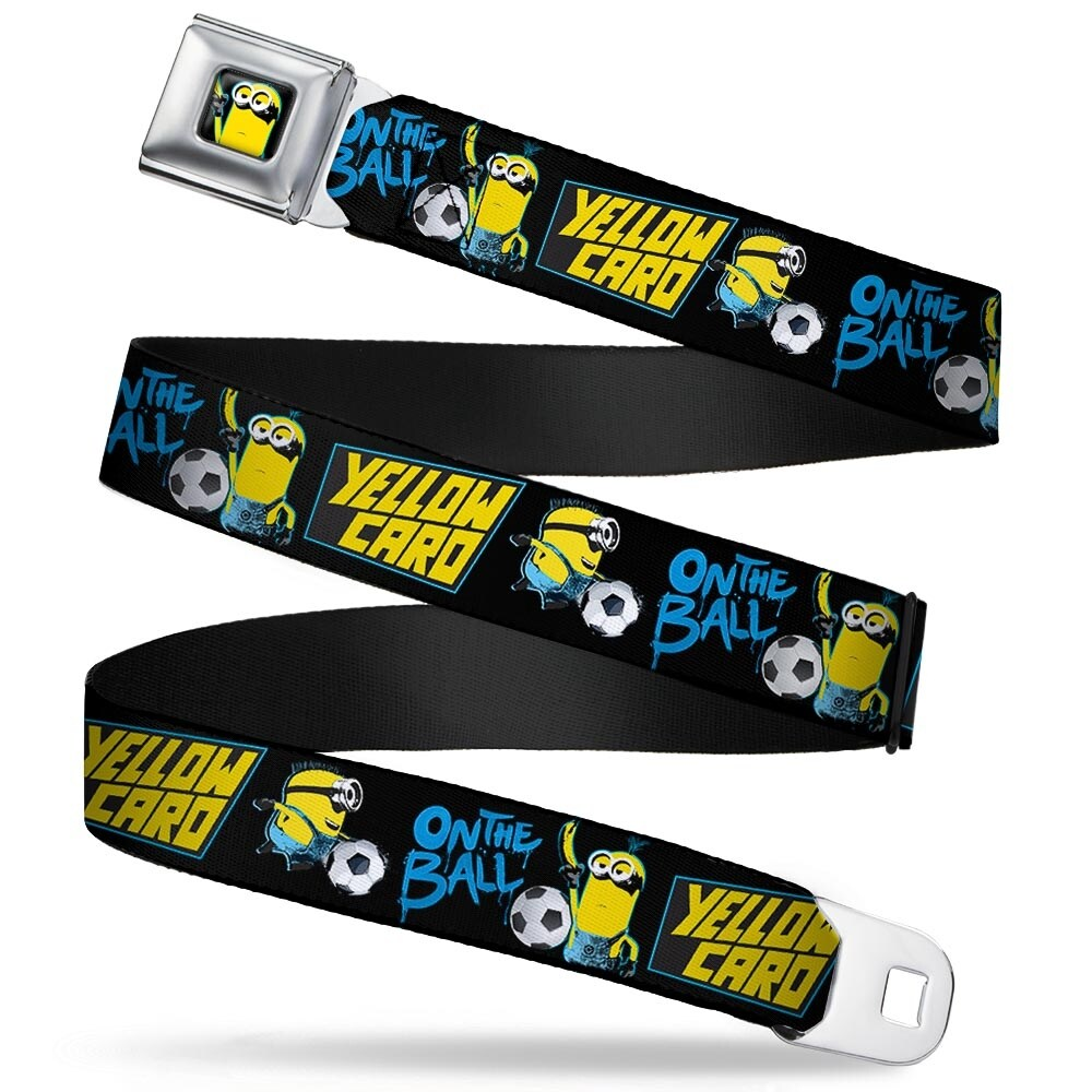 Shop minion soccer yellow card full color black blue yellow minions soccer  seatbelt belt free shipping e3787065076e