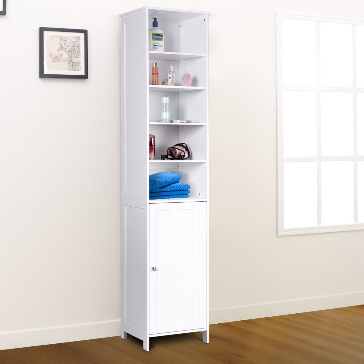 Charmant Shop Costway 72u0027u0027H Bathroom Tall Floor Storage Cabinet Free Standing  Shelving Display White   Free Shipping Today   Overstock.com   20461928
