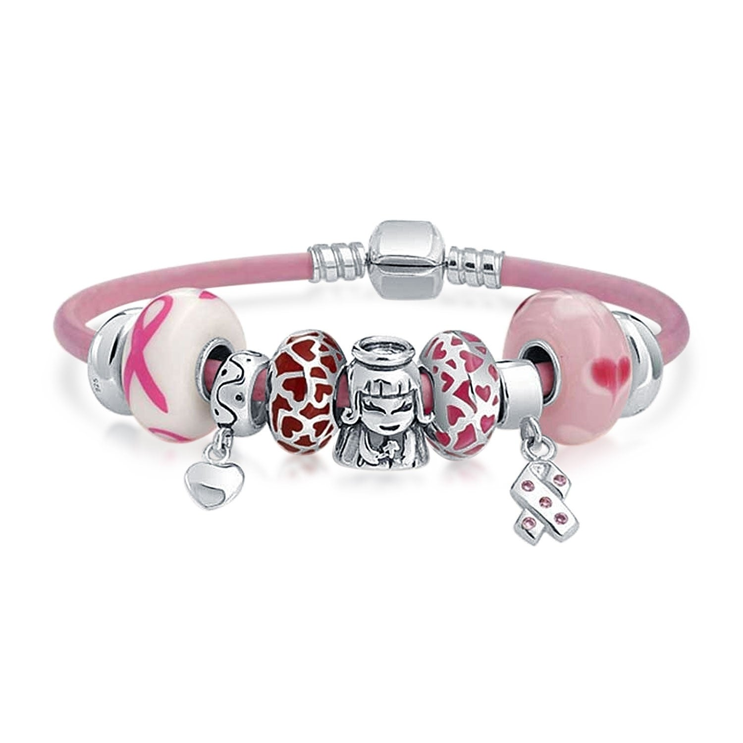 96a61bbb7 Shop Breast Cancer Survivor Pink Family European Bead Charms Bracelet  Genuine Leather For Women Sterling Silver Barrel Clasp - On Sale - Free  Shipping Today ...