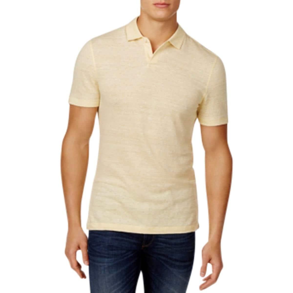 Shop Michael Kors Mens Polo Shirt Linen Blend Heathered L Free