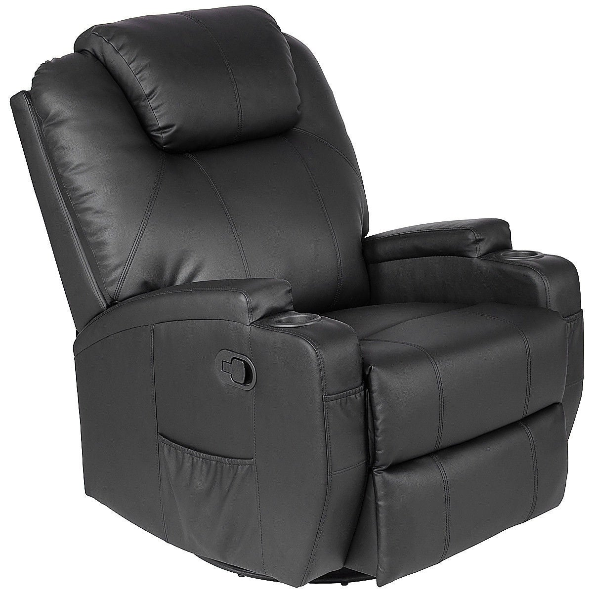 Costway Electric Mage Recliner Sofa Chair Heated 360 Degree Swivel With Cup Holder Black Free Shipping Today 22649847