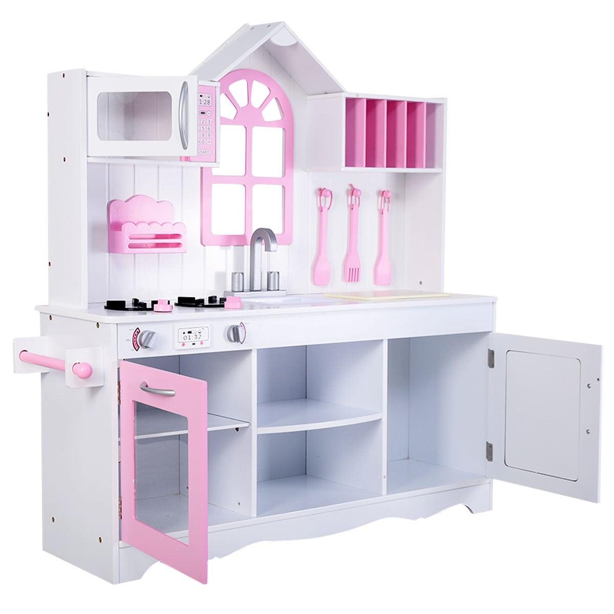 Costway Kids Wood Kitchen Toy Cooking Pretend Play Set Toddler ...