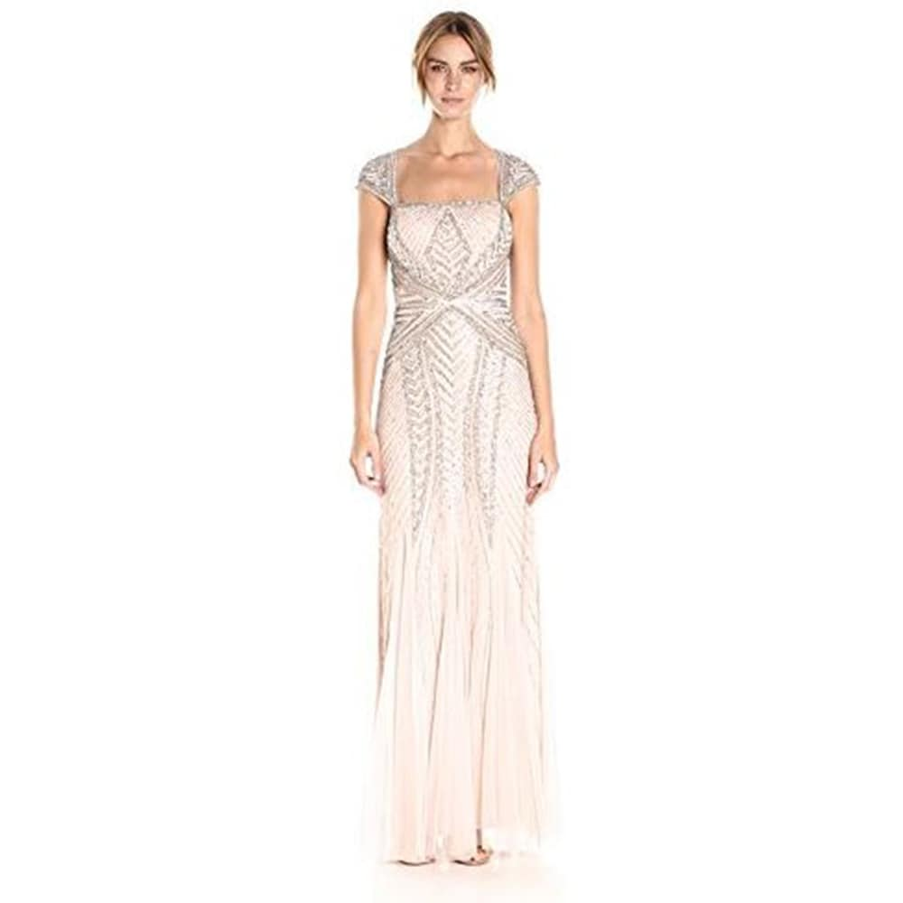 Shop Adrianna Papell Women\'s Envelope Cap Sleeve Beaded Gown - Free ...