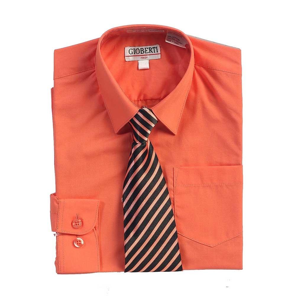 Shop Coral Button Up Dress Shirt Black Striped Tie Set Toddler Boys
