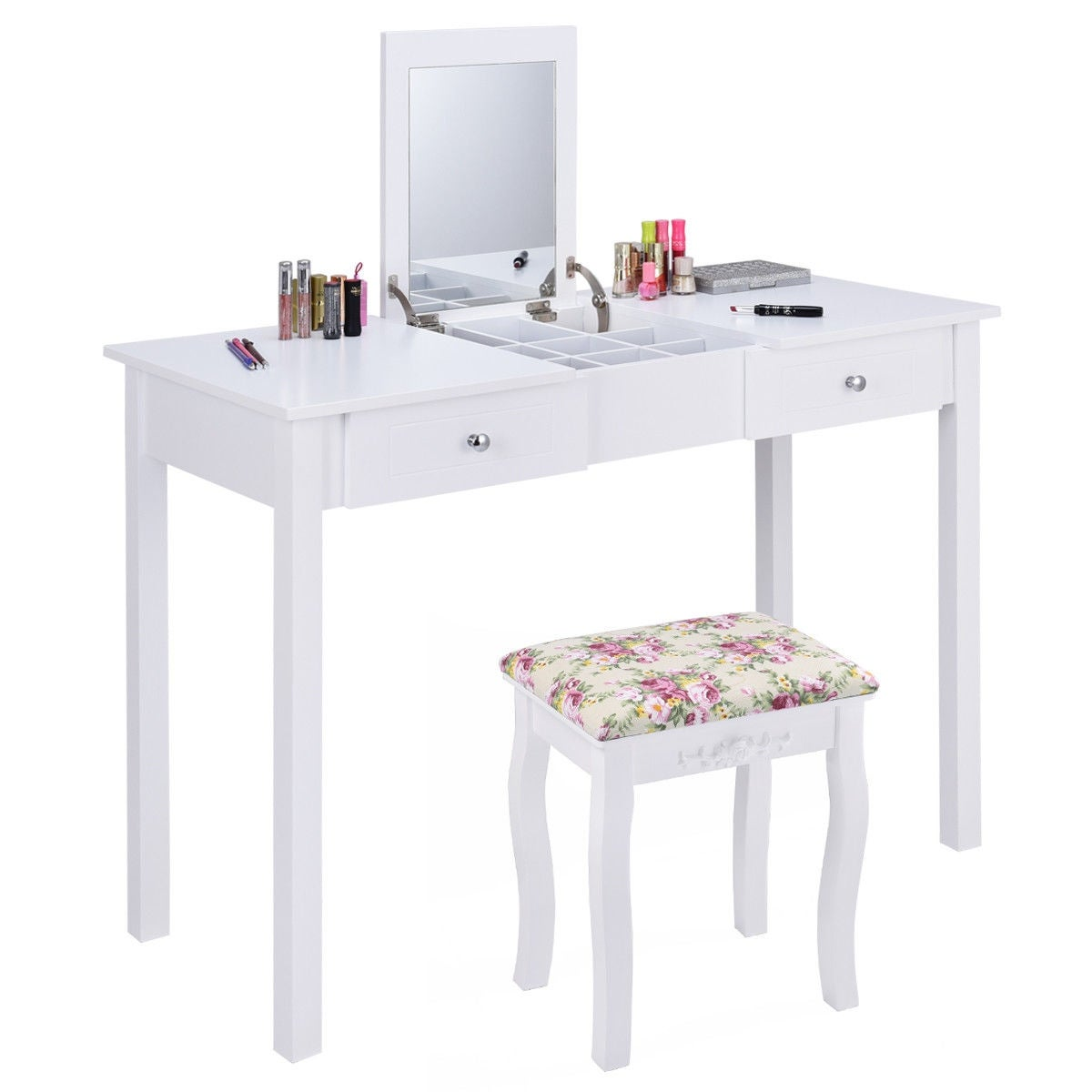 Costway Vanity Table Dressing Flip Top Desk Mirror 2 Drawers Furniture W Stool White