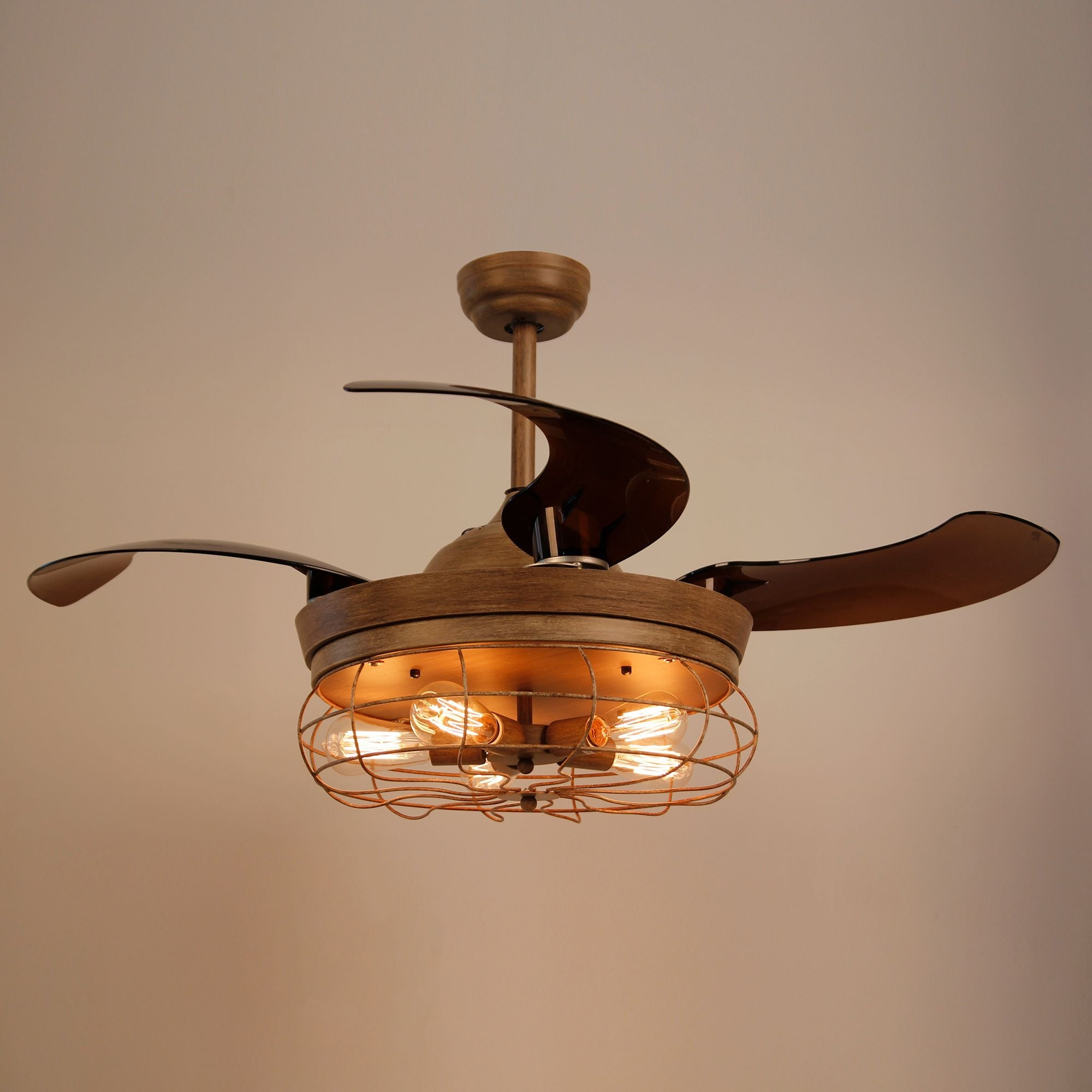 Rustic 42 Inch Oak Foldable 4 Blades Cage Ceiling Fan With 5 Lights Free Shipping Today 18915982