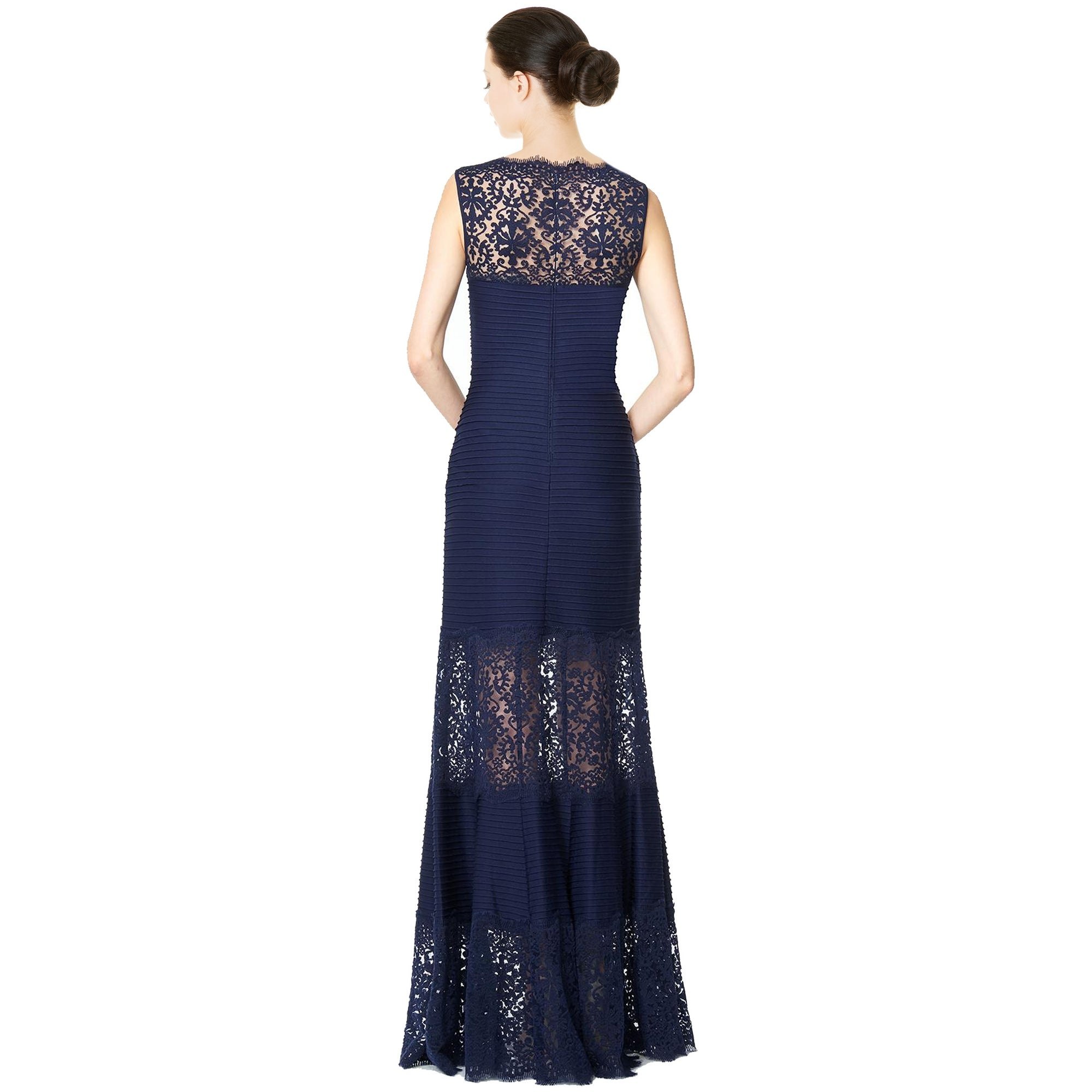 2e7f4a4096d5 Shop Tadashi Shoji Lace Inset Sleeveless Mermaid Evening Gown Dress ...