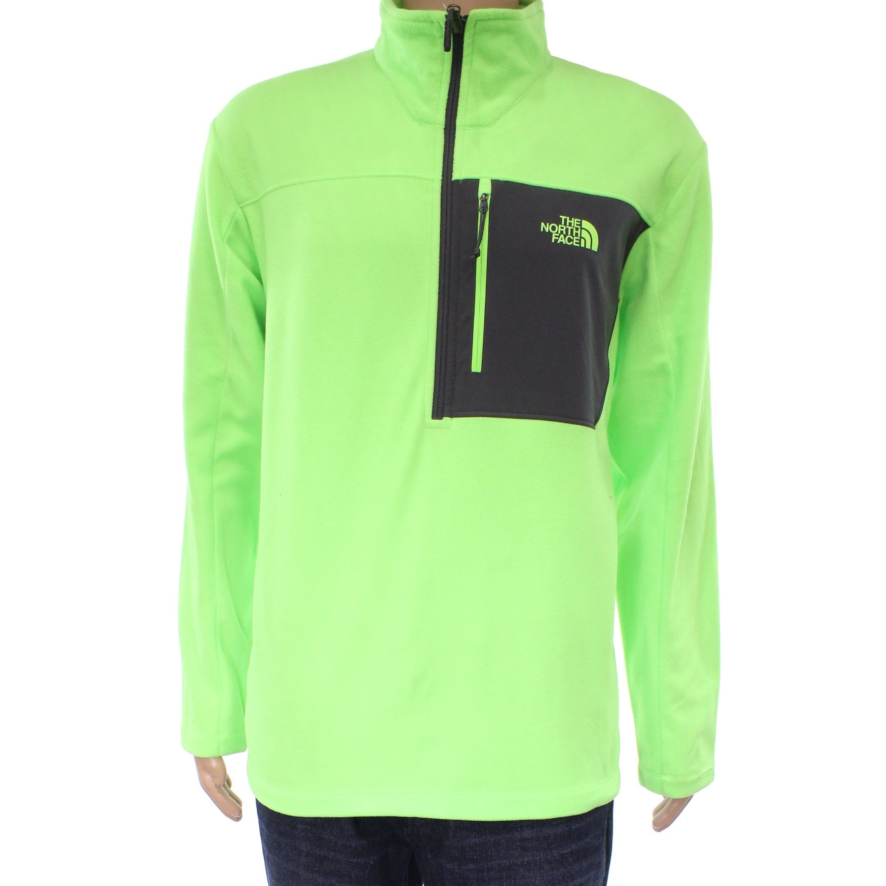 1d5af30db The North Face NEW Neon Green Mens Size XL Fleece 1/2 Zip Sweater