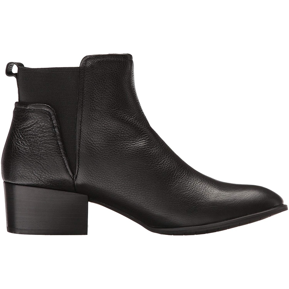 5c464eb75875 Shop Kenneth Cole New York Women s Artie Pull Low Heel Leather Ankle Bootie  - Black - 8 - Free Shipping Today - Overstock.com - 22827611