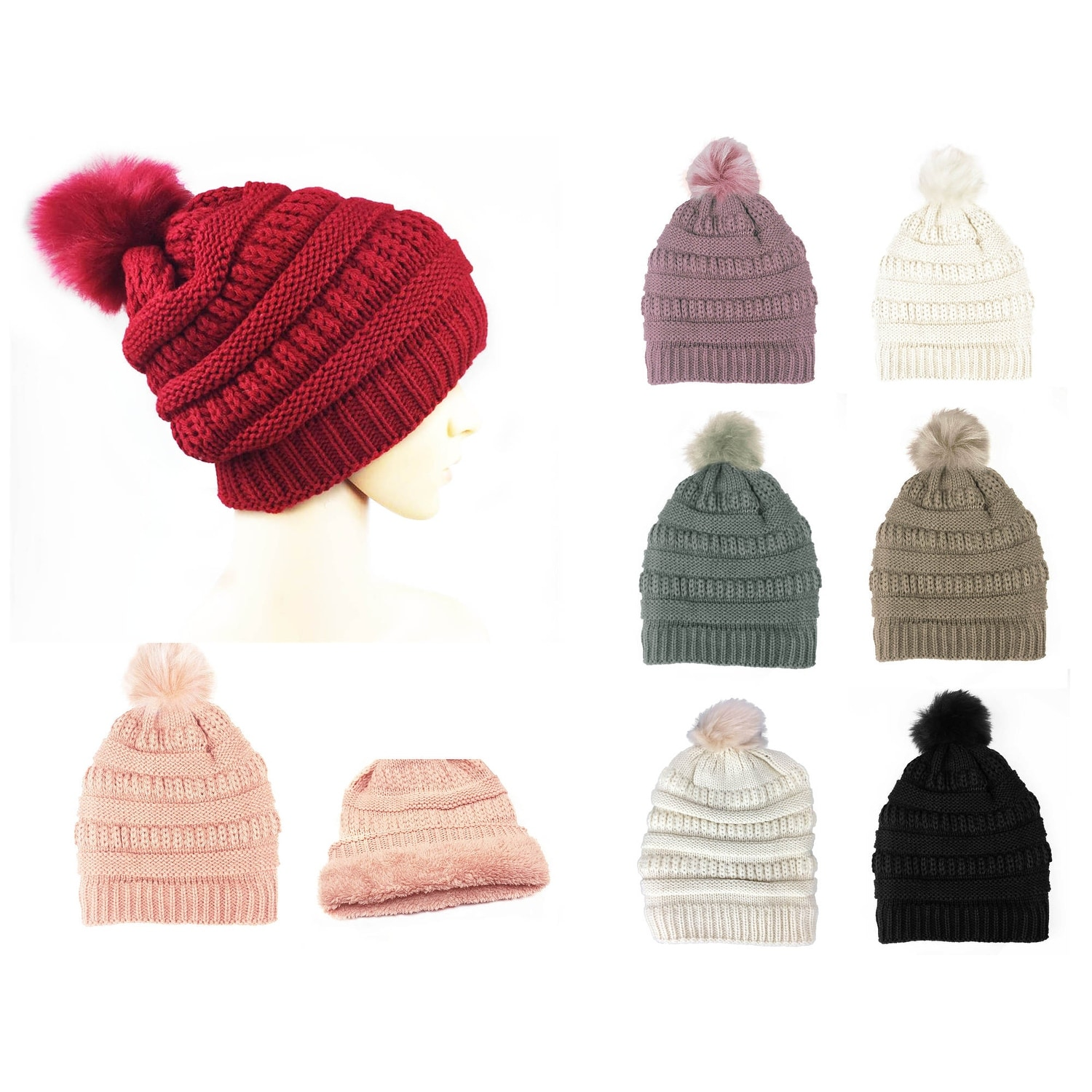 d7a4c90a3 Chunky Cable Knit Beanie Hat With Pom Pom Winter Soft Stretch Cap Hat