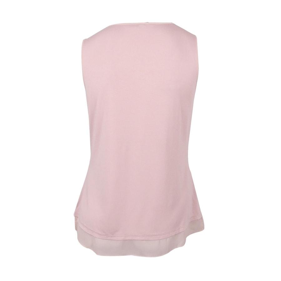 5e53b765ab11fb Shop Lauren Ralph Lauren Women s Sheer-Hem Jersey Tank Top (L
