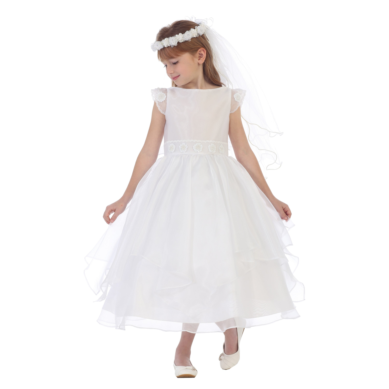 Chic Baby Little Girls White Angled Hem Layer Flower Girl Easter