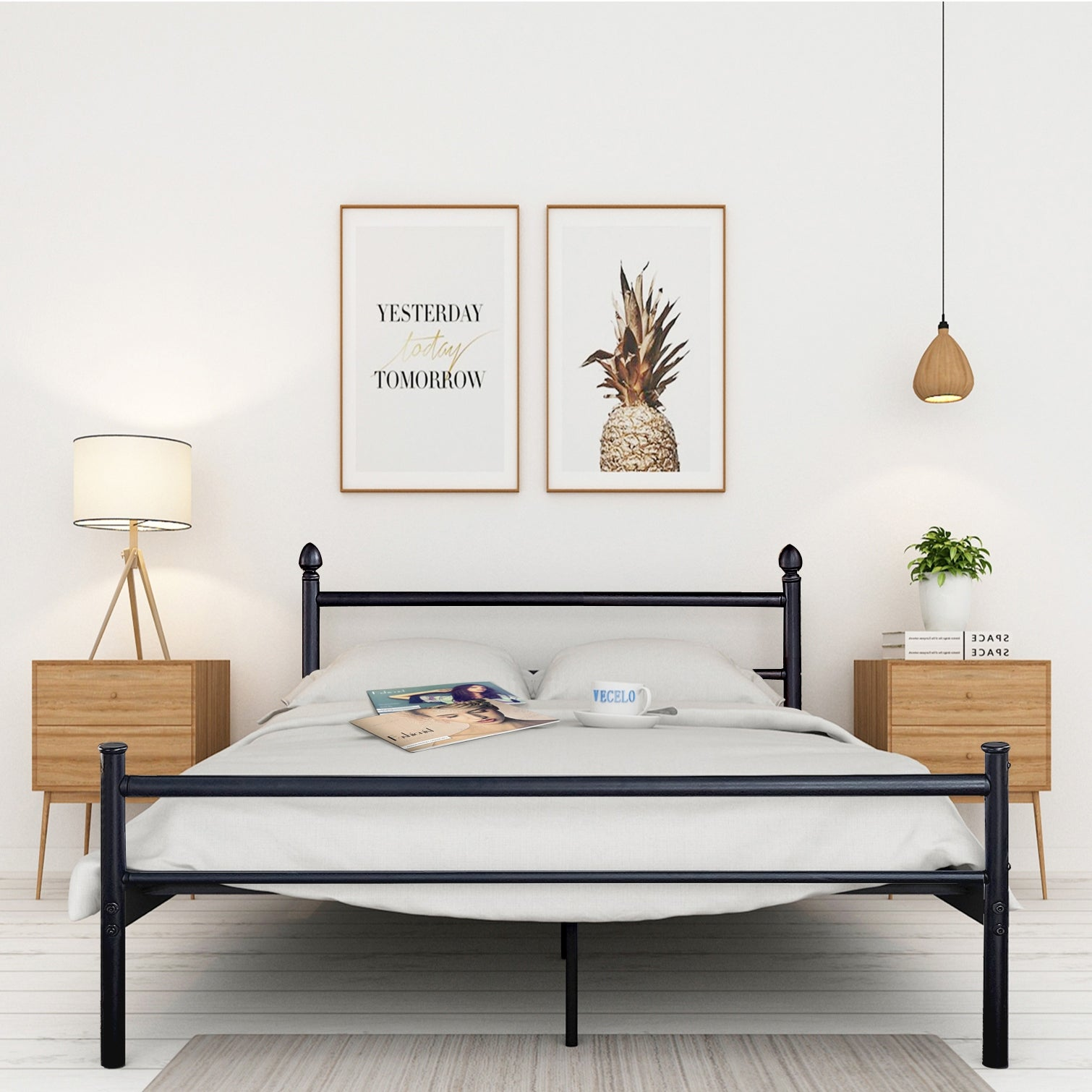 Shop vecelo queen metal bed frames with simple headboard and footboard free shipping today overstock com 18658608