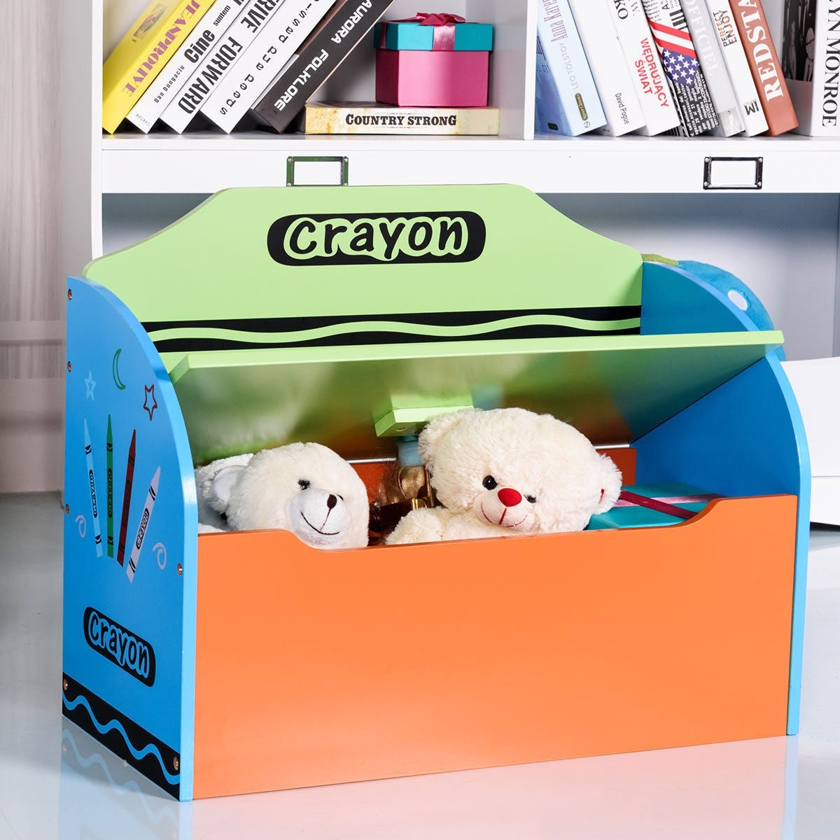 Shop Gymax Crayon Themed Wood Toy Storage Box And Bench For Kids Toddler  Children Colorful   Free Shipping Today   Overstock.com   22999611