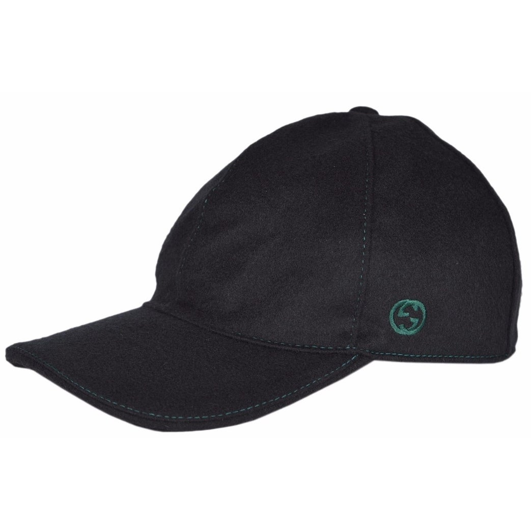 25a2cfb4cf593d Gucci 353505 Men's Black Felted Wool Red Green Band GG Baseball Cap Hat  Medium