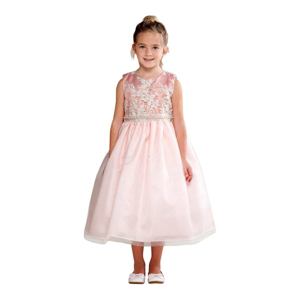 Crayon Kids Little Girls Dusty Rose Embroidery Bejeweled Flower Girl