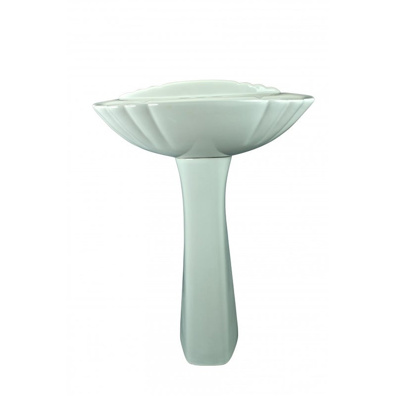 White China Shell Shape Bathroom Pedestal Sink 23 Inch W X 33 1/8 Inch H    Free Shipping Today   Overstock   19428100