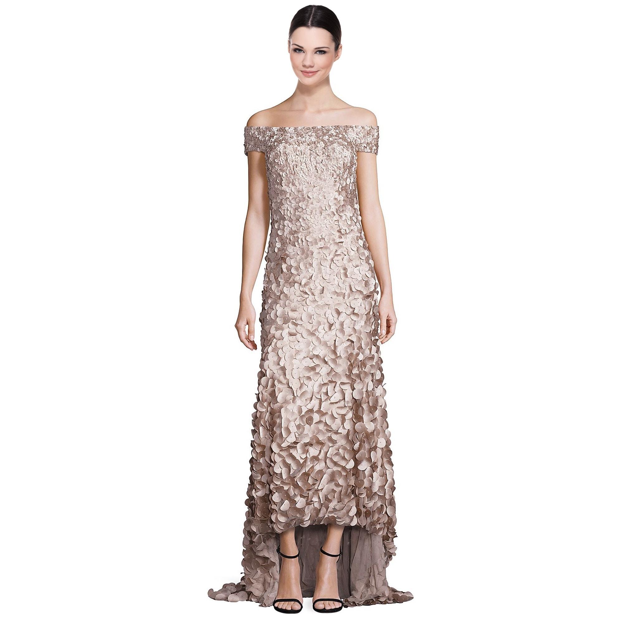 Shop Theia Off Shoulder High Low Petal Evening Gown Dress - Free ...
