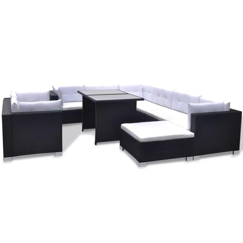 Shop Vidaxl 28 Piece Dining Lounge Set Black Poly Rattan Free