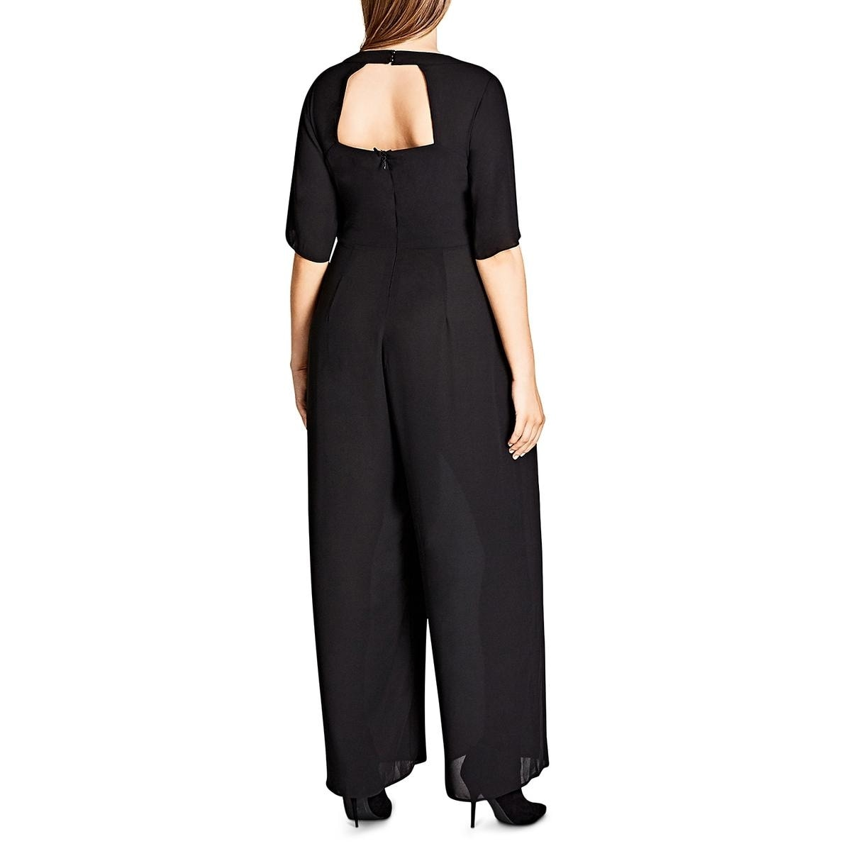 b9cc5c69f7e04 Shop City Chic Womens Plus Jumpsuit Wide Leg Cut-Out Back - Free Shipping  Today - Overstock - 24312828