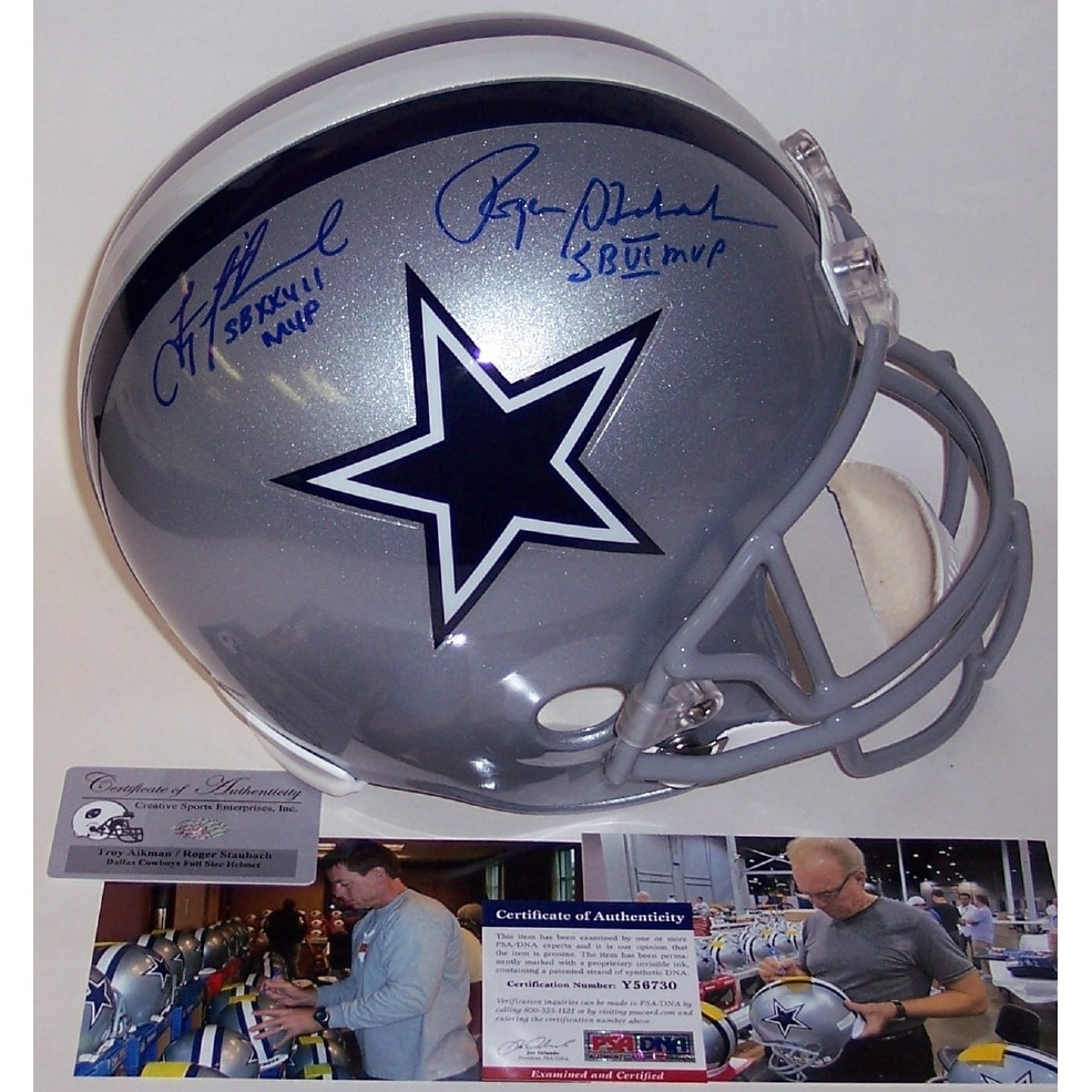 the latest 98daa 3991b Troy Aikman & Roger Staubach Autographed Hand Signed Dallas Cowboys Full  Size Helmet PSADNA