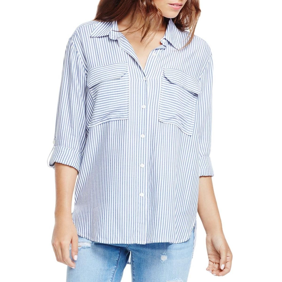 976a0718 Shop Two by Vince Camuto Womens Button-Down Top Woven Oversized - Free  Shipping On Orders Over $45 - Overstock - 14190499