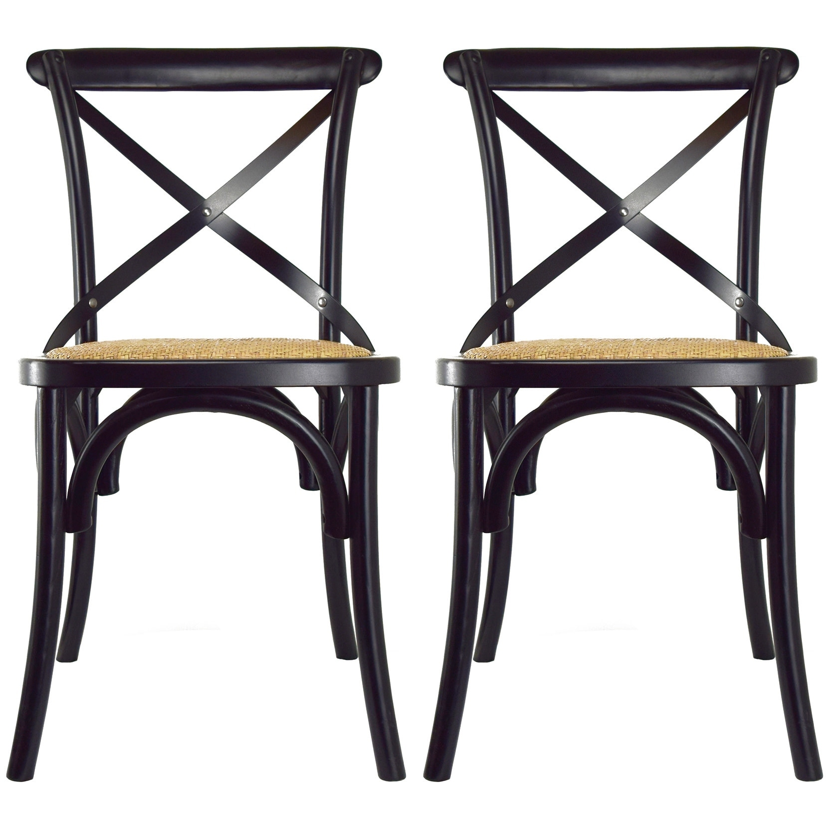 2xhome set of 2 modern contemporary antique farmhouse decor cross back wooden frame dining chairs wood accent with x back side