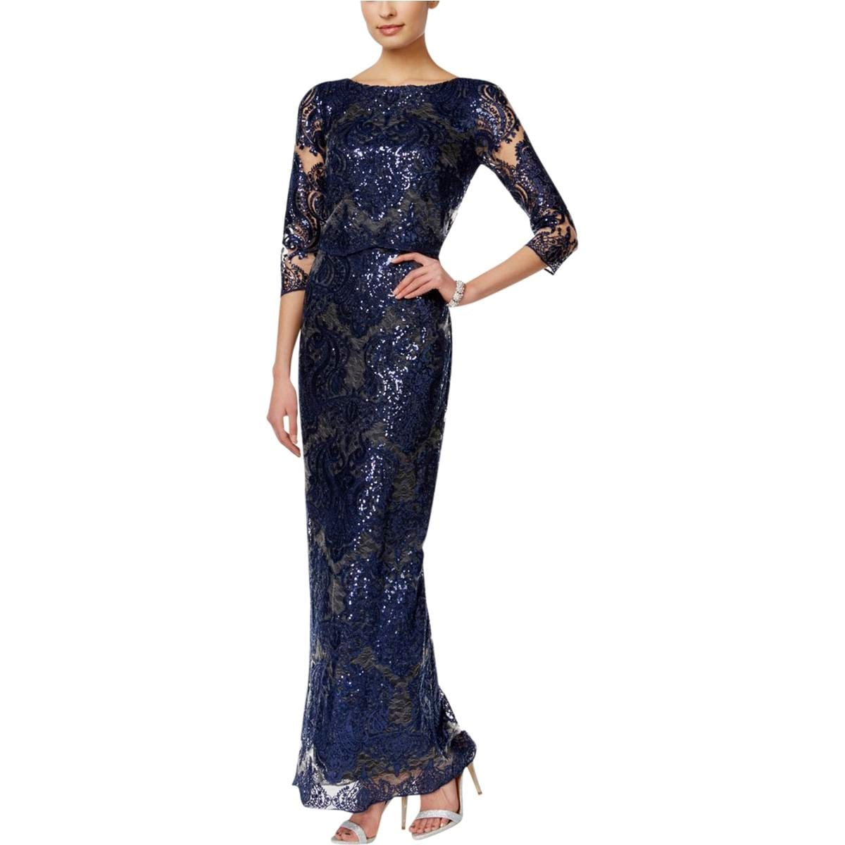 Shop Tahari ASL Womens Evening Dress Lace Sequined - Free Shipping ...