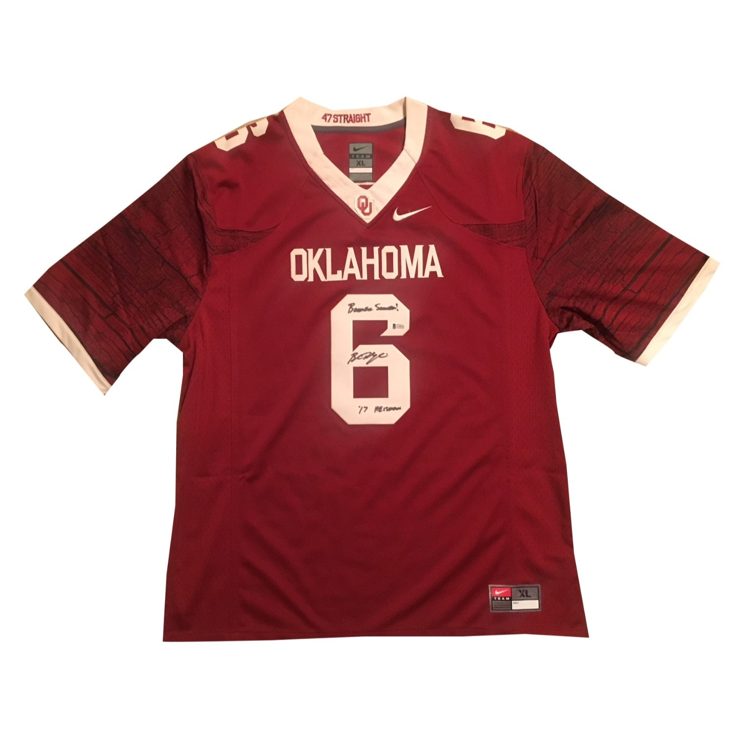 new concept 91c15 eac9a Baker Mayfield Autographed Oklahoma Sooners Signed Nike Football Jersey  BOOMER SOONER 2017 HEISMAN
