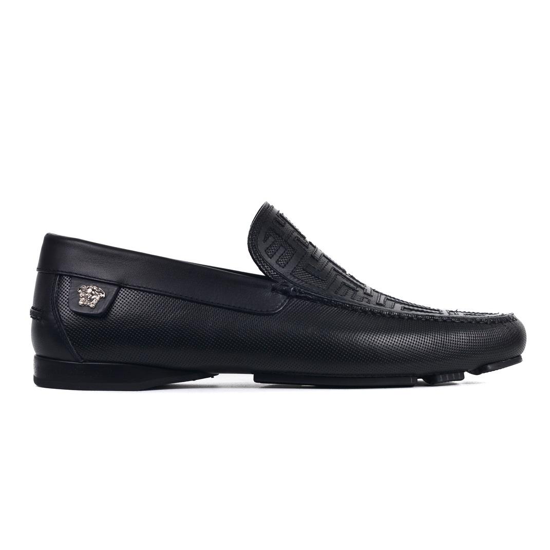 bef8621ee9c Versace Mens Black Leather Silver Medusa Embellished Loafers